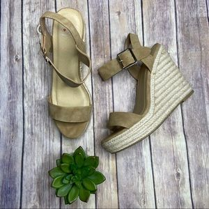 Camel Espadrille Wedge Sandals Sz 9